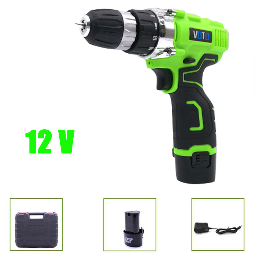 VOTO V6 Battery Rechargeable Cordless Drill Electric Screwdriver Set Lithium Power Tools Screw Gun Driver 12V Green With Case цены онлайн
