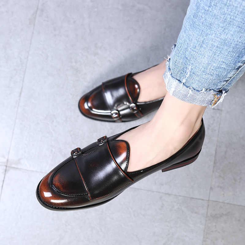 LAISUMK moda mnich pasek skórzane buty mężczyźni Plus rozmiar brytyjski styl mokasyny płaskie buty na co dzień dla Party klub 2019 nowy