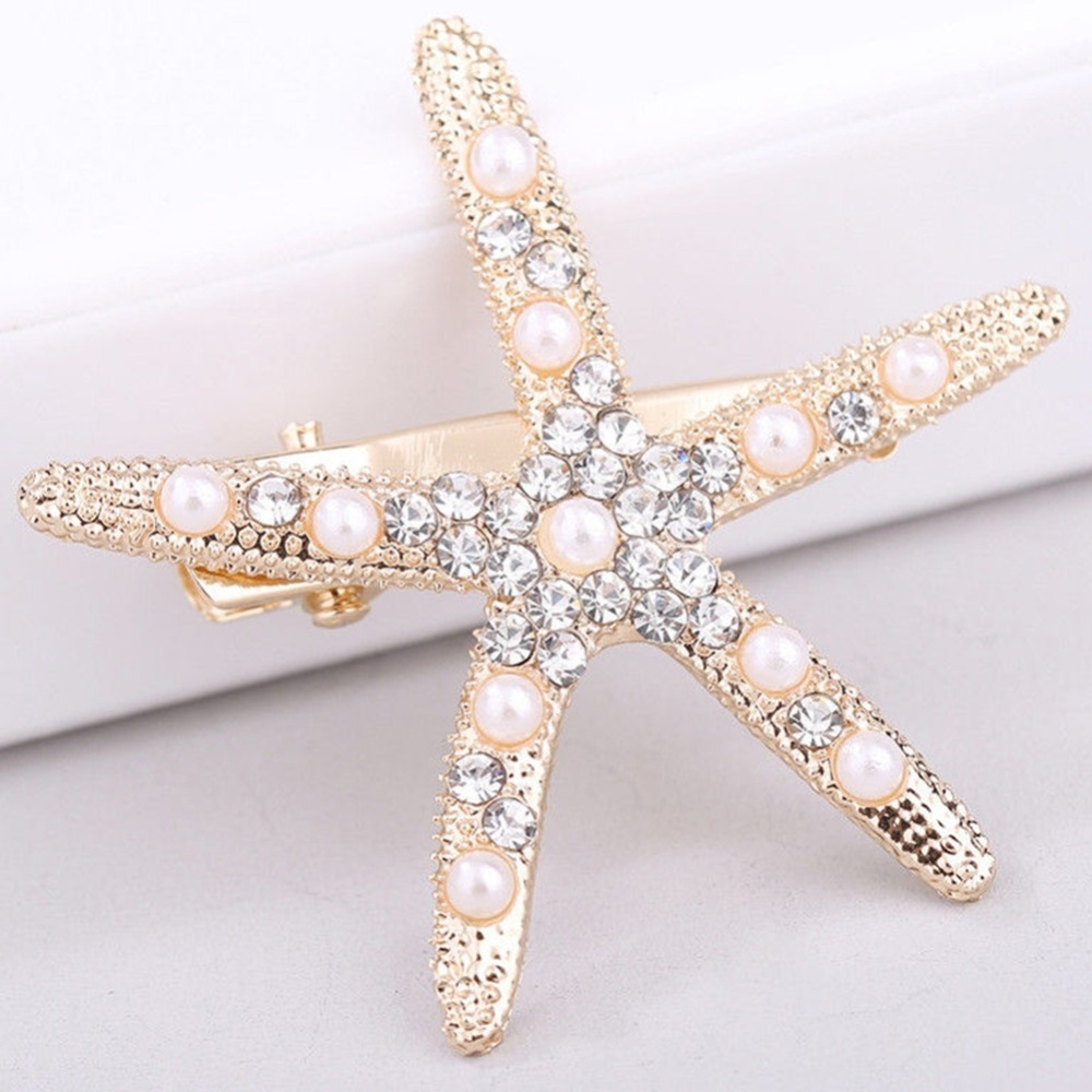 Barrettes Hairpins Starfish Rhinestone Pearl Wedding Fashion Women Beach for Simulated
