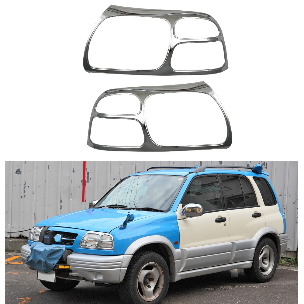 For Suzuki Vitara Grande Escudo 2.0 1998-2005 Head Light Lamp Cover Trim Frame Protector Sticker Car Styling Accessory 2PCS