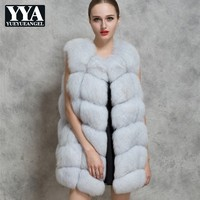 2019 Autumn Winter New Woman Fur Vest Fashion Faux Fox Fur Sleeveless Waistcoat Streetwear Slim Long Outerwear Plus Size S 3XL