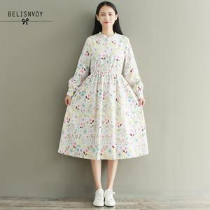 Image 2 - Mori menina outono inverno feminino robe babados veludo vestidos de festa manga longa lindo doce floral impresso vestidos femininos