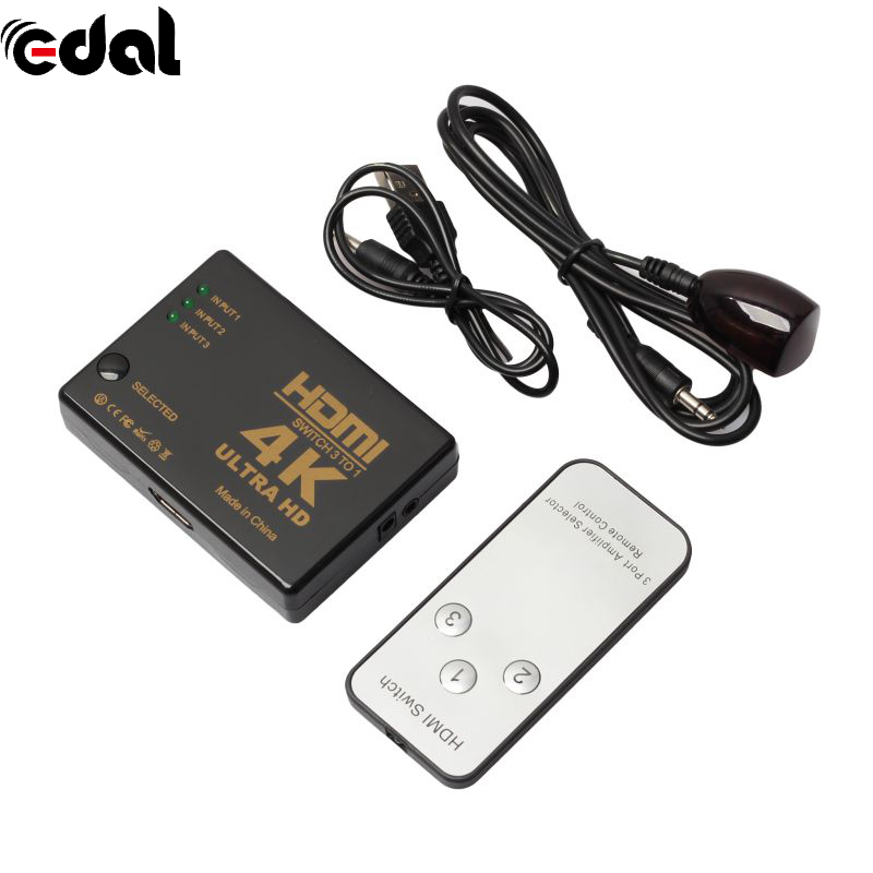 3 Port 3 in 1 Switcher Selector Ultra HD 4K x 2K HDMI Switch Splitter Box 3D 1080p IR Remote For DVD HDTV Xbox