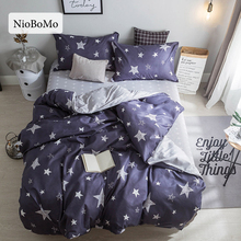 Niobomo Fashion Star Bedding Set Blue Duvet Cover Set Twin Full Queen King Size Active printing 4pcs Bedclothes