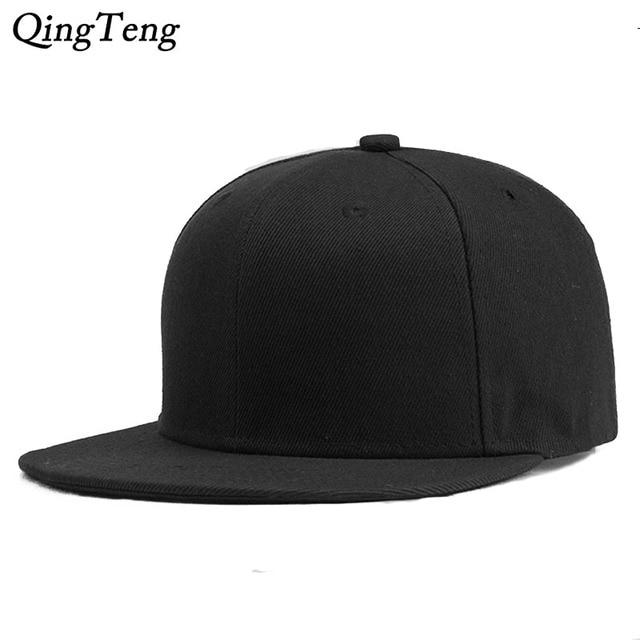 1d665d7a601 Solid Black Hip Hop Flat Hats Snapback Cool Men Cheap Baseball Caps Women  Casual Cap Gorras