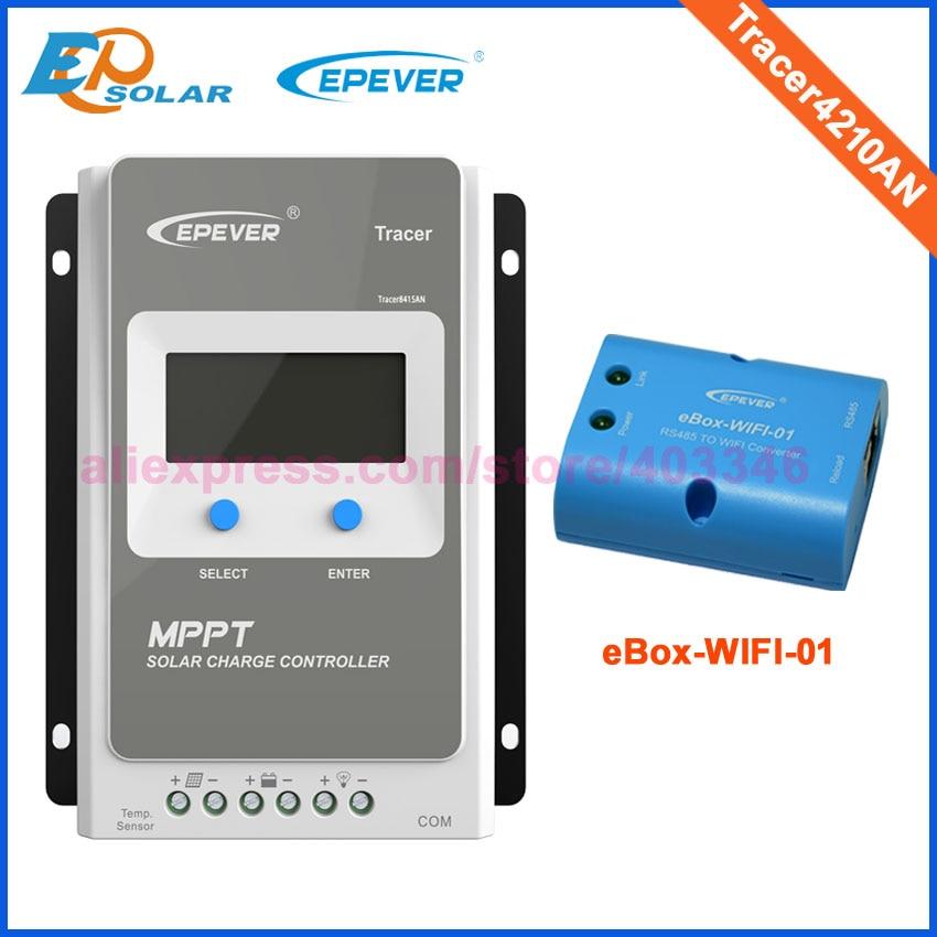 Tracer 1210AN 2210AN 3210AN 4210AN 10A 20A 30A 40A MPPT Контроллер заряда для фотоэлектрических систем 1210A 2210A 3210A 4210A ЖК-дисплей EPEVER регулятором солнечного заряда r - Цвет: 4210AN with eBoxWIFI