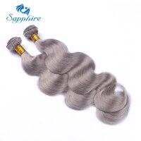 Sapphire Brasilianisches Haar Bundles Grau Remy Körperwelle Weben Natürliche Menschliche Haarwebart Bundles 3 STÜCKE Haarverlängerung Sliver Grau