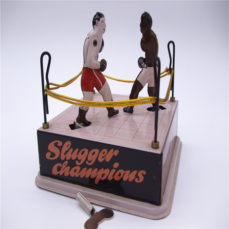 Vintage Wind Up Fighting Boxers in Boxing Ring Clockwork Tin Toy Classic