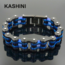Bracelet chaîne moto homme Punk Bracelet chaîne vélo bleu acier inoxydable Bracelet chaîne vélo Couple Bracelet vente en gros