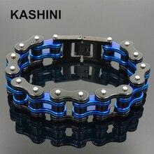 Männer der Motorrad Kette Armband Punk Bike Kette Armband Blau Edelstahl Bike Kette Armband Paar Armband Großhandel