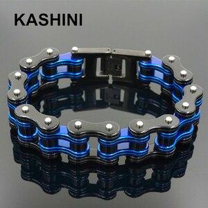 Image 1 - Mens Motorcycle Chain Bracelet Punk Bike Chain Bracelet Blue Stainless Steel Bike Chain Bracelet Couple Bracelet Wholesale