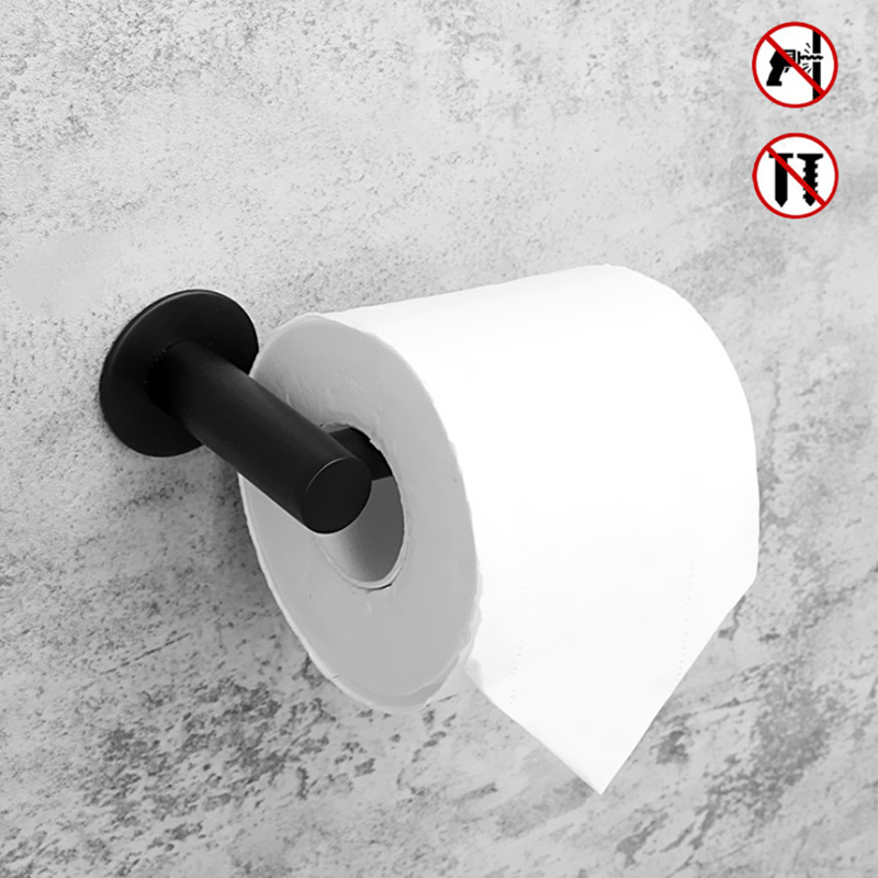 Adhesive Toilet Paper Holder 304 Stainless Steel WC Roll Rack Black Decorative Bathroom Paper Holder Tissue Hanging Free Nail