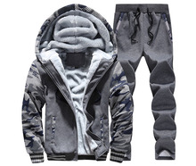 Warm Sport Sweat Suits Men Tracksuit Suit Winter Outdoor Letter Print Hoodies Sweatshirt Pants Set M-4XL