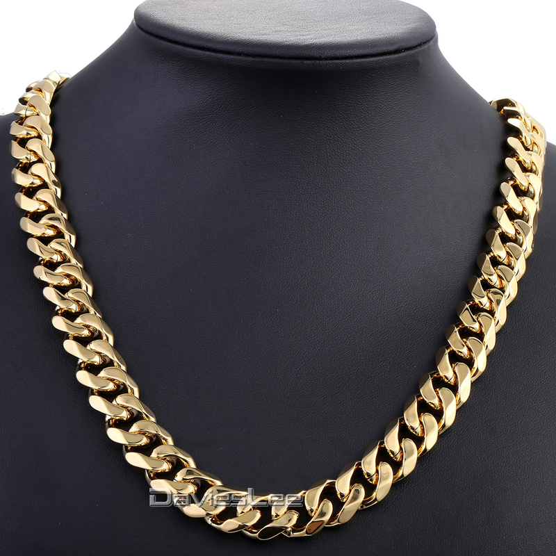 Davieslee Gold-color Cut Curb Cuban Link Stainless Steel Necklace Mens Fashion Chain Jewelry (15mm Wide) DLKN332 emanco stainless steel jewelry femme rose gold color link chain necklace with cute pendants simple brand design fashion jewelry