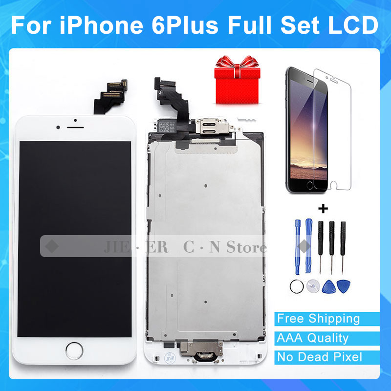 Top Quality LCD Display Screen for iphone 6 Plus Touch Screen Digitizer With Home button Glass Tools Full Assembly Free Shipping 1 pcs for iphone 4s lcd display touch screen digitizer glass frame white black color free shipping free tools
