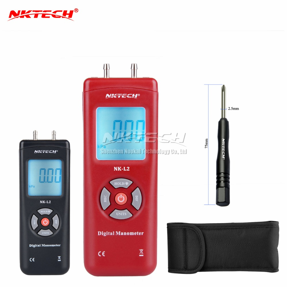 NKTECH NK L2 LCD Digital Manometer Differential Gauge Air Pressure Meter 2Psi Data Hold 11 Units