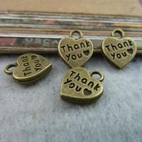Free Shipping Wholesale 250Pcs/Lot Antique Bronze Heart Thank you Letter Alloy Charms Pendant Jewelry Findings 10*12MM 6525