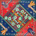 Cadenas de Medallas de Impresión Digital Bufanda de Seda de la Tela Cruzada pura Jacquard Cubierta Grande 130 cm Square Pashmina Moda Fulares Pañuelos De Seda-arriba