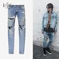 Justin Bieber Temor De Deus Calças Jeans Zipper Destruído Jeans Skinny azul calças jeans slim fit jeans para homens de jeans hip hop