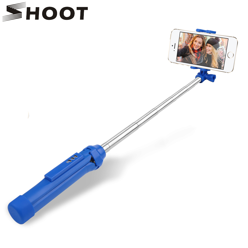SHOOT 3 in 1 Handheld Bluetooth Selfie Stick for iPhone 7 6 Plus Sumsang S8 Android Phone with Remoter Gopro Tripod Monopod