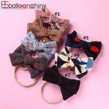 BalleenShiny 7colors Infant Baby Headband European and American Cute Color Matching Corduroy Fabric Children's Bowknot Hair Band(China)