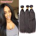 Sunny Queen Hair Products 6A Yaki Cabello Liso 3 Unids Sin Procesar Ruso Ruso Virgen Luz Yaki Del Pelo Humano Teje 8-28 pulgadas