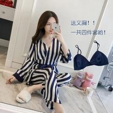 2018 new  sexy silk   Ladies home wear suit with bra four piece set