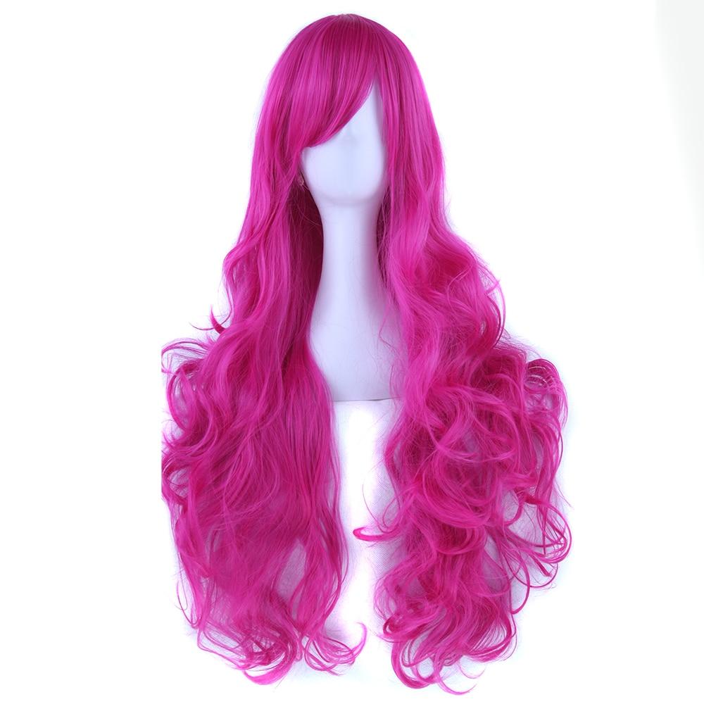 Soowee 20 Colori Lunghi Ricci Parrucca Cosplay Capelli delle Donne Hairpiece Capelli Sintetici Rosa Blu Partito Accessori Per Capelli Parrucche
