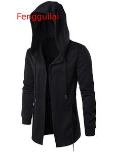 Image 2 - ברדס מעיל 2020 סתיו וחורף מעיל רוח גלימת גברים כהה ארוך גלימת היפ הופ מנטל להאריך ימים יותר Moleton ארוך שרוול מעיל 5XL