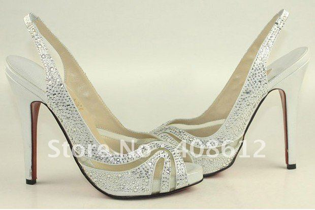 Party Sandals Rhinestone Womens Sandal Fashion Shoes Silver Wedding Size