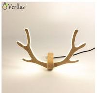 Scandinavian Creative Deer Antlers LED Wall Lights Home Decor Wooden Wall Lamp New Designs Lighting Fixture