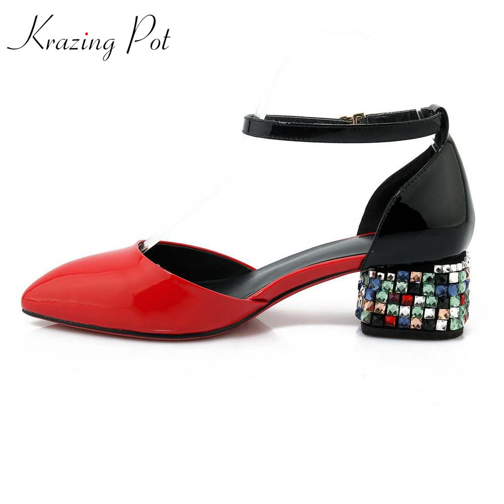 Krazing Pot cow leather Korean girl women vintage crystal hee pointed toe med heels movie star ankle strap women pumps L01 hee grand pointed toe pumps british style med heels patchwork t strap oxfords shoes woman casual vintage pump shoes xwd2469