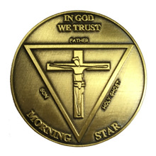 hot sales jesus cross coins custom plating old gold Coin High quality Custom made metal in god morning star coin