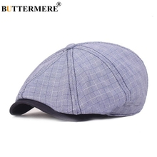 BUTTERMERE Plaid Newsboy Cap Men Blue Cotton Linen Octagonal Male Gatsby Checkered Duckbill Spring Autumn British Beret Hat