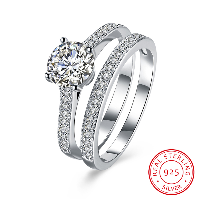 925 Sterling Silver Rings Luxury 2 Rounds Bijoux Wedding Coupl Ring Bridal Sets Cubic Zirconia Engagement