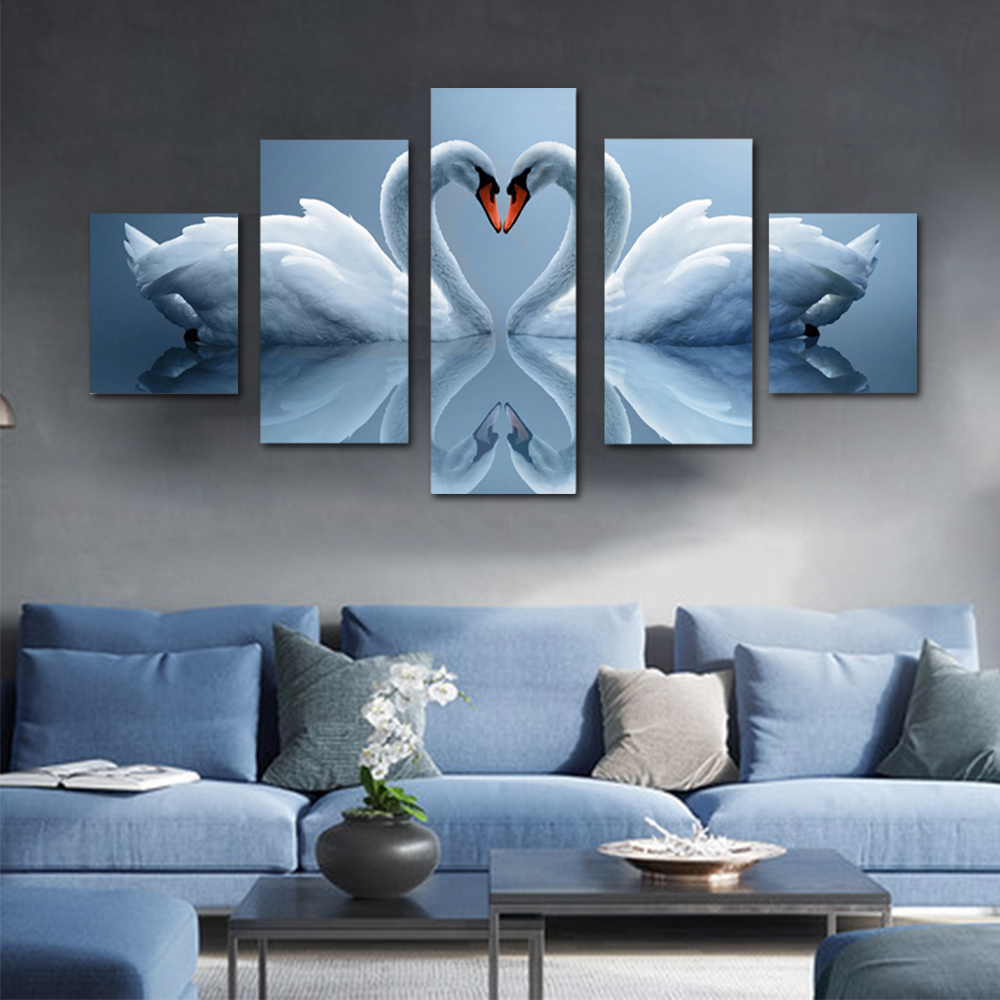 Unframed HD Print 5 Canvas Art Painting Love White Swan Canvas Mural Living Room Decoration Picture Unframed Free Shipping