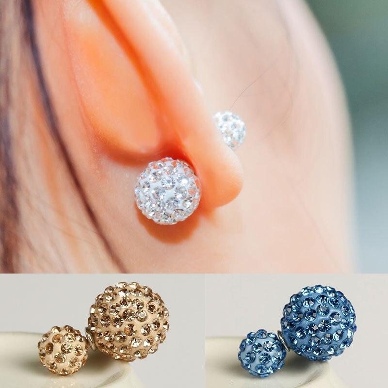 2016 Neue Mode Frauen Luxus Marke Doppel Zirkon Erklärung Ball Stud Ohrringe Großhandel Zubehör Schmuck Für Frauen E1367