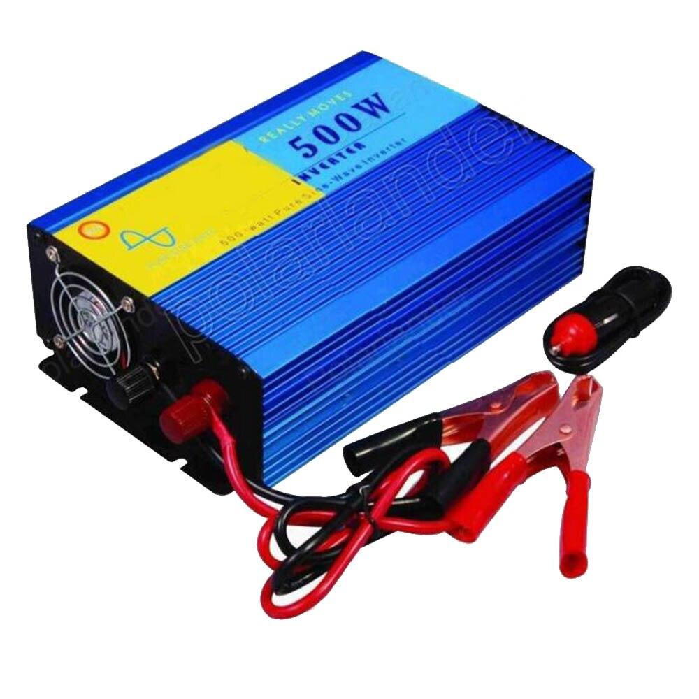 Commutateur d'alimentation voiture style 500 W DC 12 V à AC 220 V pur onduleur de voiture à onde sinusoïdale convertisseur de tension transformateur