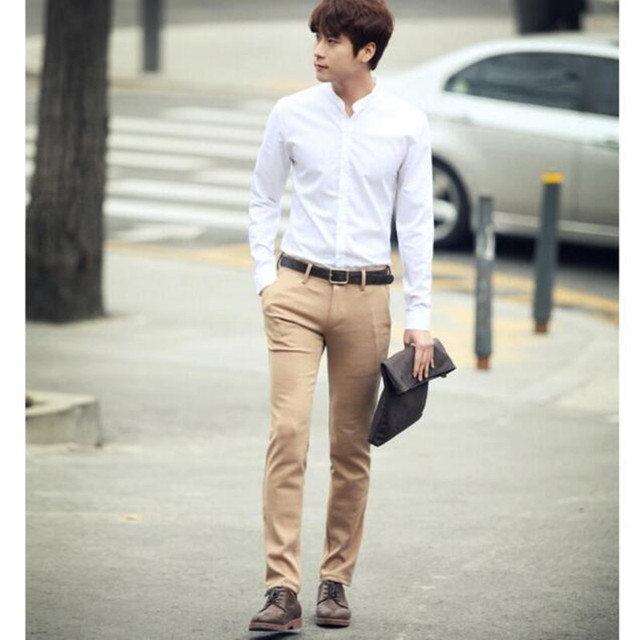 Chinese collar men shirt fashion leisure Chinese style round ...
