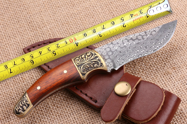 High Quality Damascus Small Hunting font b Knives b font Copper Wood Handle Camping Fixed Blade