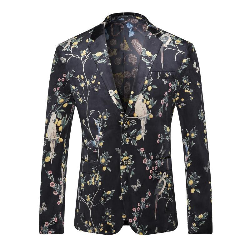 Latest Blazer Men Coat Design New Luxury Mens Floral Blazer Velvet Suit Jacket Black Plus Size 3Xl Blazer Masculino Slim Fit Men