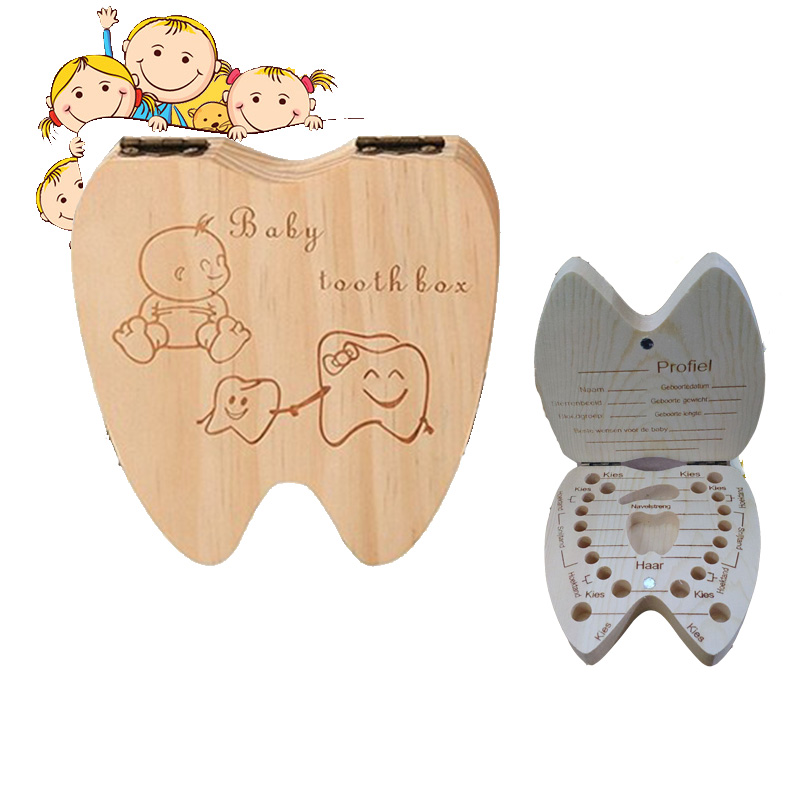 Baby Wooden Tooth Portuguese/English /Spanish/ French /Czech Tooth Box Wooden Milk Teeth Organizer Storage  Souvenir Case