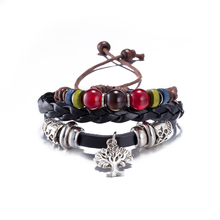 2017 Pulseira Jewelry Leather Bracelet Women Casual Personality red bead Alloy tree pendant Beaded hand made Vintage Bracelet