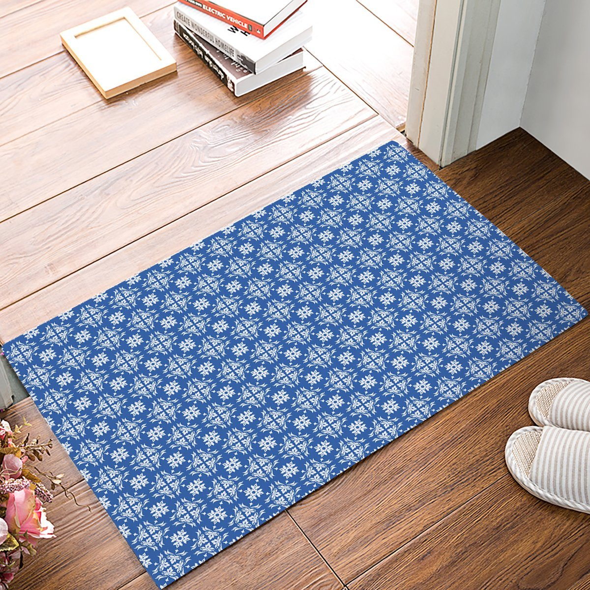 Blue Kitchen Floor Mats: Blue And White Classic Flower Pattern Door Mats Kitchen