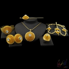 Yulaili 2017 Free Delivery Hot Sell Factory Ethiopia Design Copper Alloy Four Pieces Ladies Big Jewelry Sets