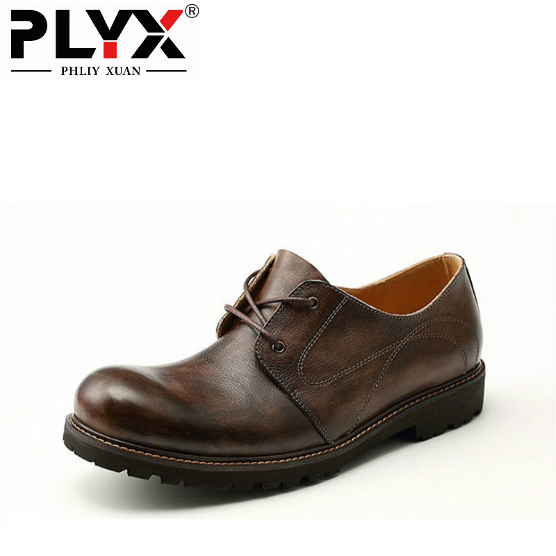 PHLIY XUAN British Style Men Oxfords Genuine Leather Mens Casual Shoes 100% Handmade Chaussure Homme De Marque 2018 new fashion hot sale mens casual shoes flat loafers male footwear british vintage chaussure homme de marque large size 44