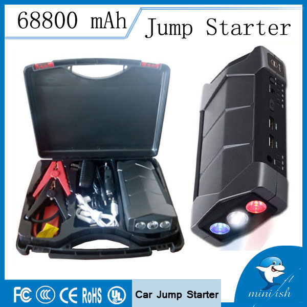 Долгий срок службы компактный мини аварийного автомобиля батарея пусковые устройства 68800 мАч зарядное устройство Booster с SOS фонарик
