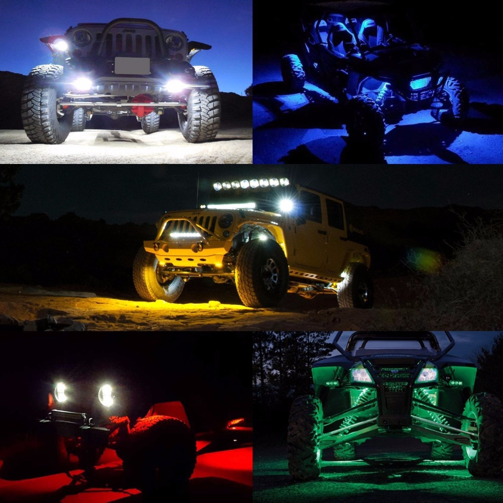Us 44 72 14 Off Amber Led Rock Light Kits With 6 Pods Lights For Boat 4x4 Off Road Truck Car Atv Suv Yellow Amber In Car Light Assembly From