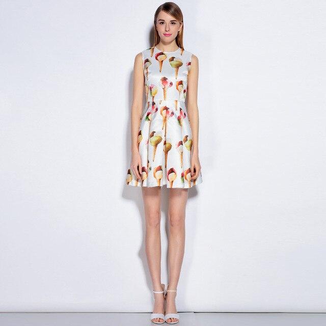 Più nuovo Runway Primavera Estate delle Donne del Vestito Del Progettista  Gelato Stampa Abiti Senza Maniche 8392fc1d5fb