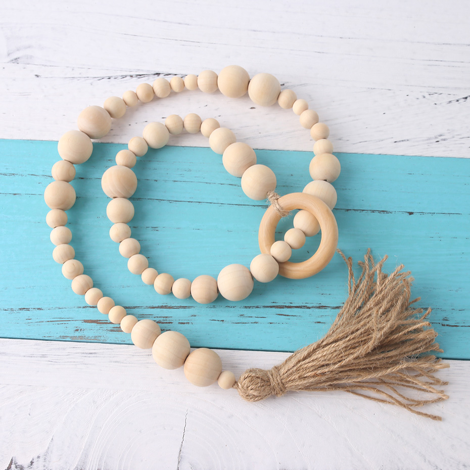 Nurse Gifts Decor Garland Room Wooden Beads Wall Hanging Safe Chew Toys Gifts For The New Year Wood Ring Handmade Crafts